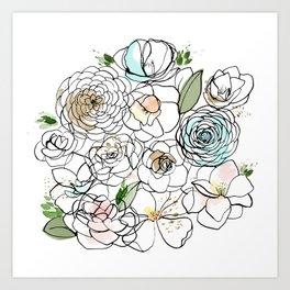 Inky Camellias Gold Art Print