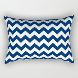 Navy and White Chevron Stripes Rectangular Pillow