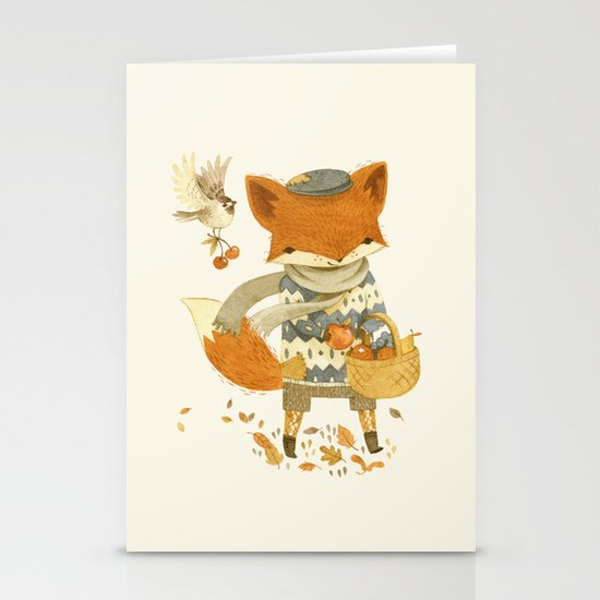 Fritz the Fruit-Foraging Fox Stationery Cards