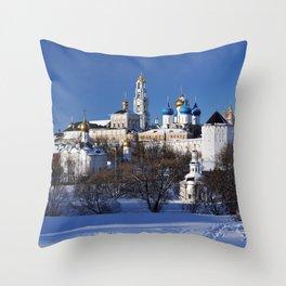 Sergiev Posad monastery (lavra) at sunny winter day Throw Pillow