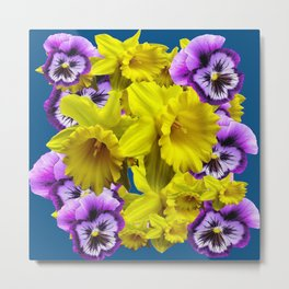 YELLOW SPRING DAFFODILS & LILAC PANSIES BLUE COLOR Metal Print