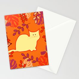 Curious cat, butterflies and leaves Stationery Cards