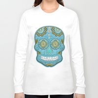 sugar skull Long Sleeve T-shirts featuring sugar skull by Ancello