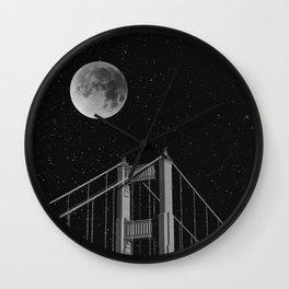 Full Moon Over Golden Gate Bridge San Francisco, California Wall Clock