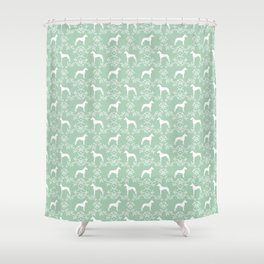 Great Dane floral silhouette dog breed pattern minimal simple mint and white great danes silhouettes Shower Curtain
