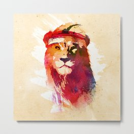 Gym Lion Metal Print