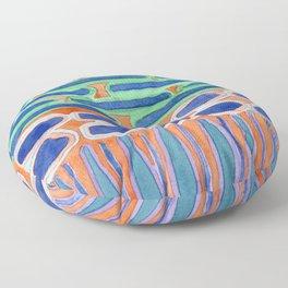 Blue Shapes Pattern Floor Pillow