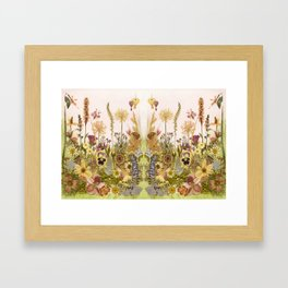 Pink Garden mirrored Framed Art Print