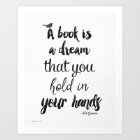 neil gaiman Art Prints featuring Neil Gaiman quote, Literary Quote by Good vibes and coffee
