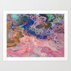 Flamingos by the Sea Art Print