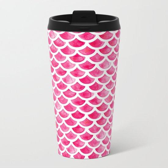 Pink Mermaid Scales Metal Travel Mug