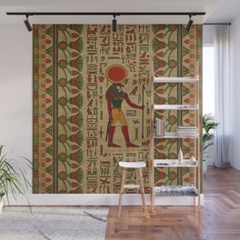 Egyptian Re-Horakhty  - Ra-Horakht  Ornament on papyrus Wall Mural