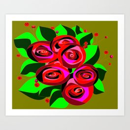 A Bouquet of Roses with Black Petals and Buds of Red Art Print