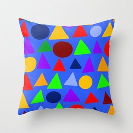 Circle and triangle variation on a design blue Throw Pillow