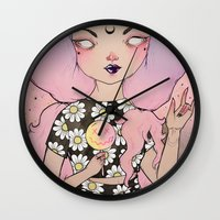 flora Wall Clocks featuring Flora by lOll3