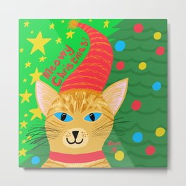 Christmas Cat Short Hair Orange Tabby Blue Eyes Metal Print