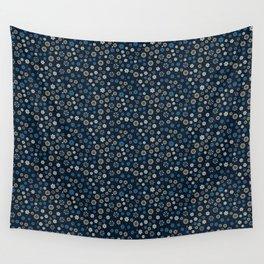 Festive Blue Snowflake Pattern Wall Tapestry