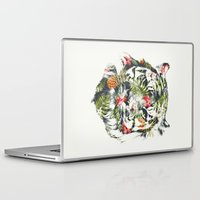 tropical Laptop & iPad Skins featuring Tropical tiger by Robert Farkas