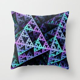 Lilac Ice 3D Sierpinski Triangle Fractal Art Throw Pillow