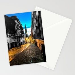 Brussels Path to the Grand Place Color/Black and White Mashup Stationery Cards