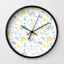 Summer Floral Dandelion Yellow Pattern Wall Clock