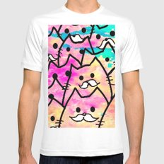 cat-35 White X-LARGE Mens Fitted Tee