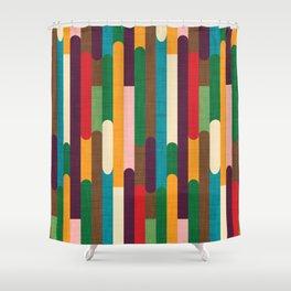 Retro Color Block Popsicle Sticks Shower Curtain