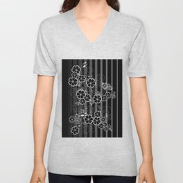 Abstract white and black flowers with background Unisex V-Neck