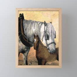 Plow Horse and Foal Framed Mini Art Print