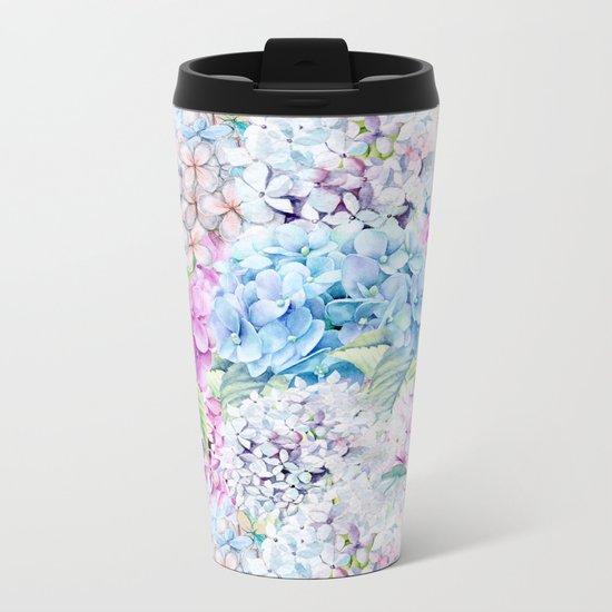 Multicolor Watercolor Hydrangea dream pattern Metal Travel Mug