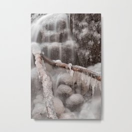 Frozen Winter Waterfall Metal Print