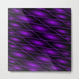 Slanting repetitive lines and rhombuses on dark violet with intersection of glare. Metal Print