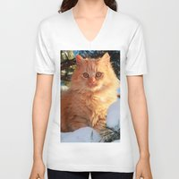 garfield V-neck T-shirts featuring Winter Garfield  by Lucie