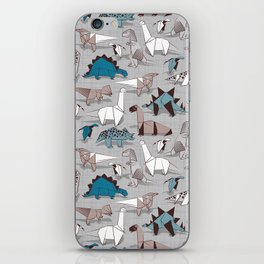 Origami dino friends // grey linen texture blue dinosaurs iPhone Skin