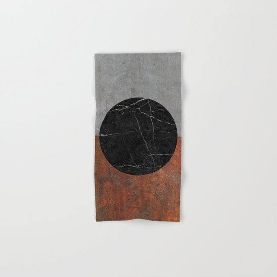 Abstract - Marble, Concrete, Rusted Iron Hand & Bath Towel