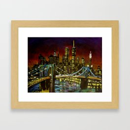 Brooklyn Nights, Oil pastel urban sketch of Brooklyn Bridge from Dumbo in Brooklyn, New York Framed Art Print