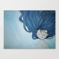 little mermaid Canvas Prints featuring Little Mermaid by Grazia Vincoletto
