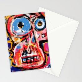 Art brut outsider underground graffiti portrait Stationery Cards