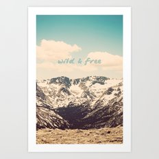Wild and Free Faded Colorado Mountains Landscape, Clouds, blue skies, rockies Art Print