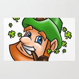 Leprechaun Face Graphic Shamrock Flying Smoking Pipe Rug