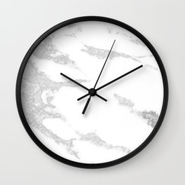 white marble with silver glitter Wall Clock