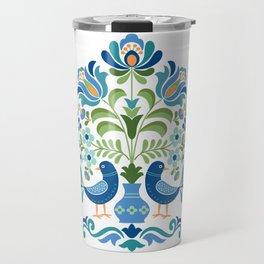 Hungarian Folk Design Blue Birds Travel Mug