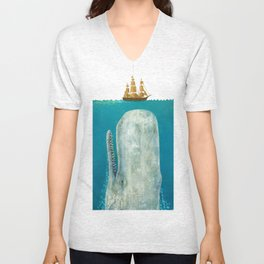 The Whale - colour option Unisex V-Neck