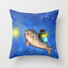 Hanging Stars with a Friendly Narwhal Throw Pillow