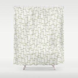 Reverse Beryl Green Mid Century Geometric Pattern Shower Curtain