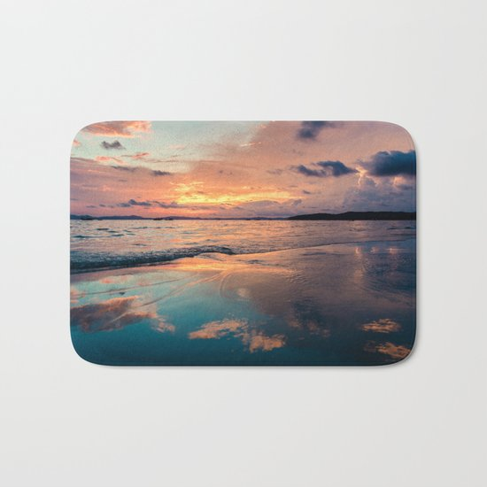 Beautiful Summer Beach Sunset Reflection Bath Mat