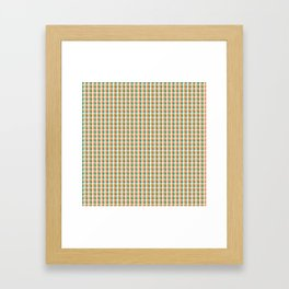 Small Orange White and Green Irish Gingham Check Plaid Framed Art Print