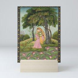 Vintage India Beautiful Woman Garden Print Mini Art Print