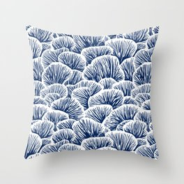 Mushroom Pattern - Dark Blue Throw Pillow