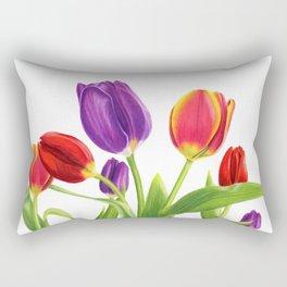 Tulip Garden on White Rectangular Pillow
